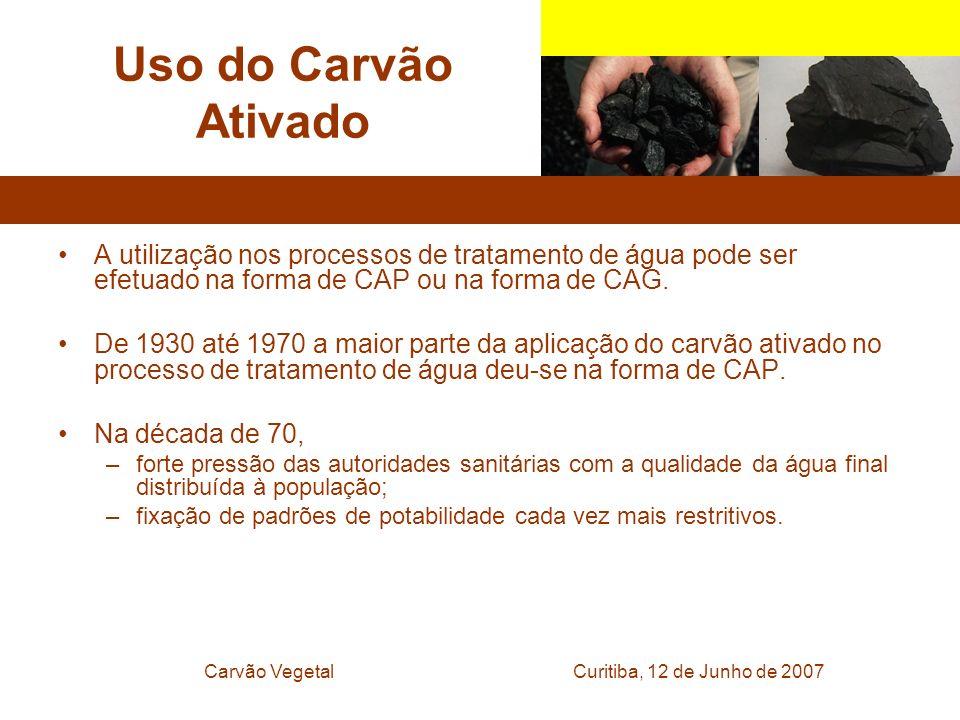 Curitiba, 12 de Junho de 2007Carvão Vegetal Uso do Carvão Ativado A utilização nos processos de tratamento de água pode ser efetuado na forma de CAP o