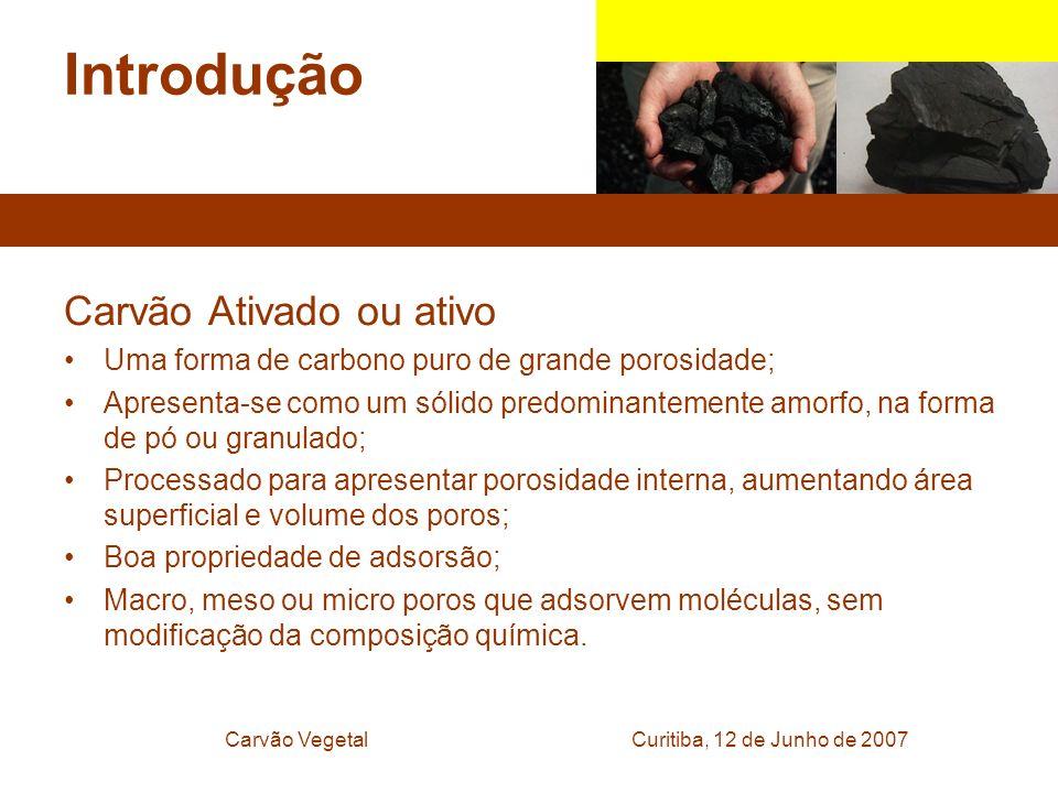 Curitiba, 12 de Junho de 2007Carvão Vegetal Introdução Carvão Ativado ou ativo Uma forma de carbono puro de grande porosidade; Apresenta-se como um só