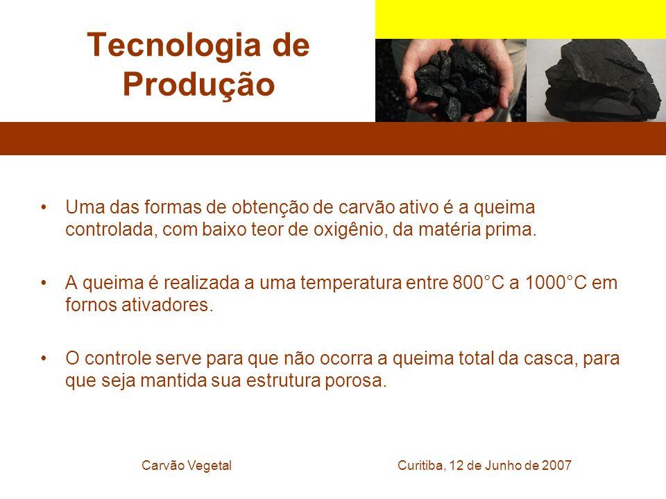 Curitiba, 12 de Junho de 2007Carvão Vegetal Tecnologia de Produção Uma das formas de obtenção de carvão ativo é a queima controlada, com baixo teor de