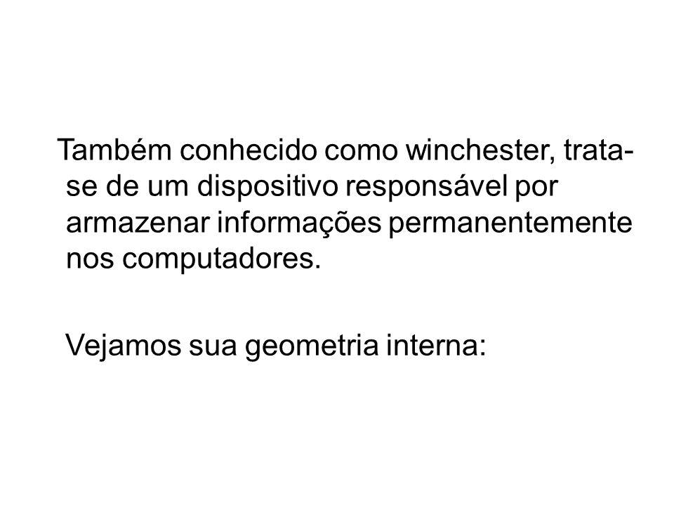 Também conhecido como winchester, trata- se de um dispositivo responsável por armazenar informações permanentemente nos computadores. Vejamos sua geom