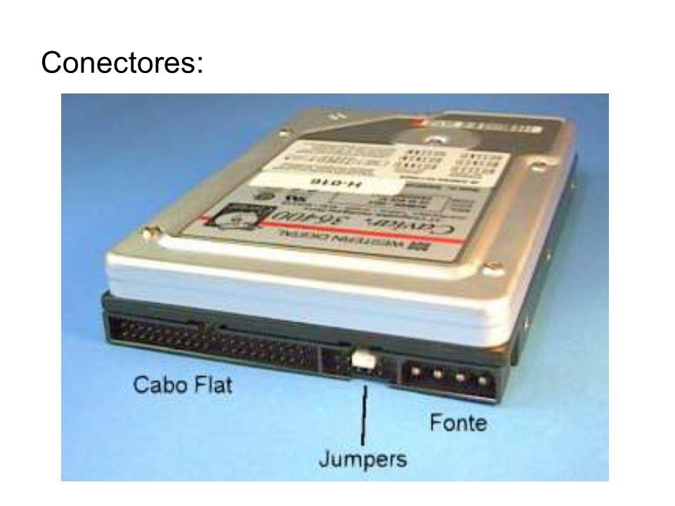Conector de dados: -Cabo Flat IDE de 40 ou 80 Vias -Cabo SATA: trabalha com taxas de transferência superiores ao IDE