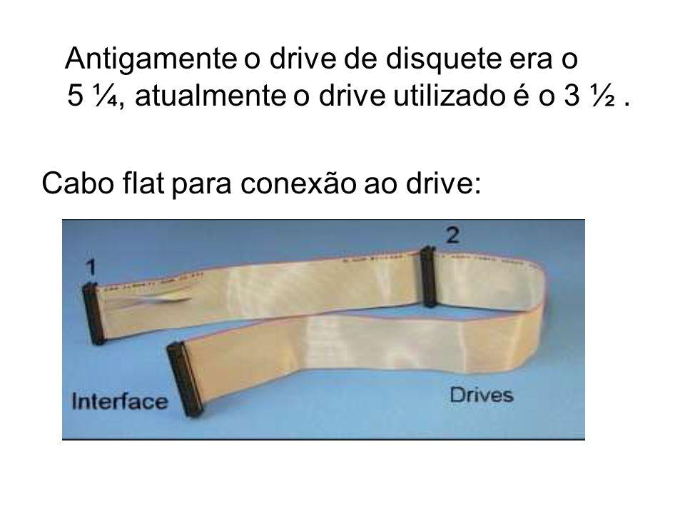 Antigamente o drive de disquete era o 5 ¼, atualmente o drive utilizado é o 3 ½. Cabo flat para conexão ao drive: