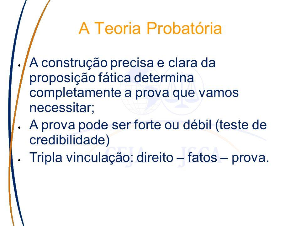 A Teoria Probatória A construção precisa e clara da proposição fática determina completamente a prova que vamos necessitar; A prova pode ser forte ou débil (teste de credibilidade) Tripla vinculação: direito – fatos – prova.