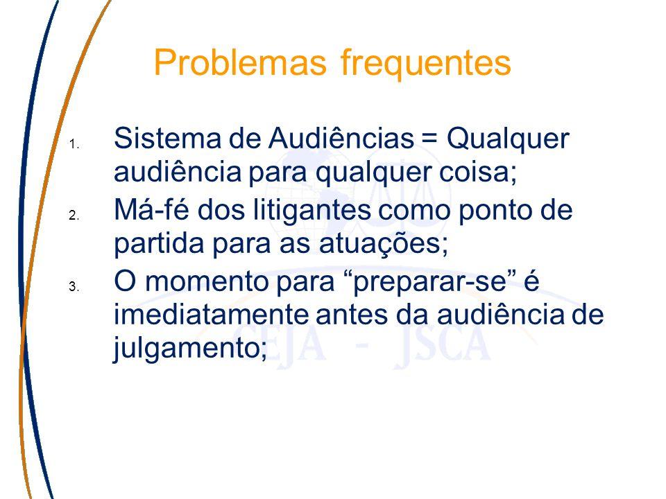 Problemas frequentes 1. Sistema de Audiências = Qualquer audiência para qualquer coisa; 2.