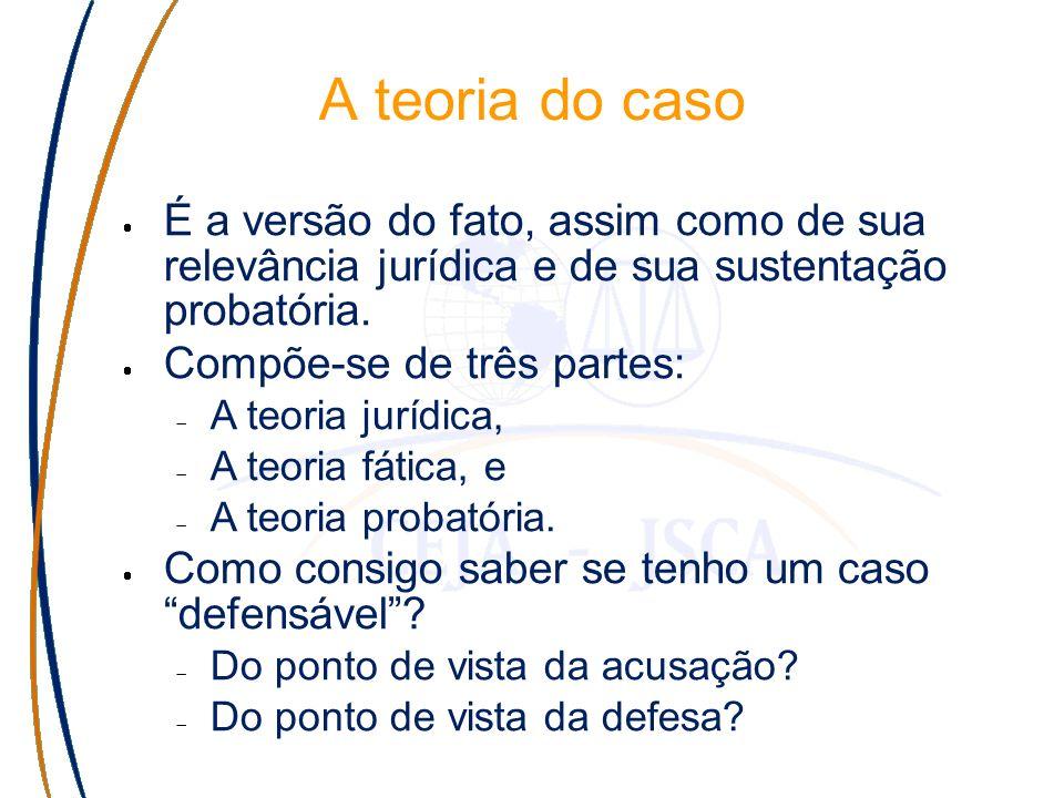 A teoria do caso É a resposta para a pergunta: de que provas preciso para chegar a quais proporções fáticas que levem a quais elementos de quais teorias jurídicas.