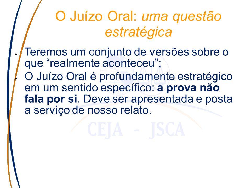 O Juízo Oral: uma questão estratégica Teremos um conjunto de versões sobre o que realmente aconteceu; O Juízo Oral é profundamente estratégico em um sentido específico: a prova não fala por si.