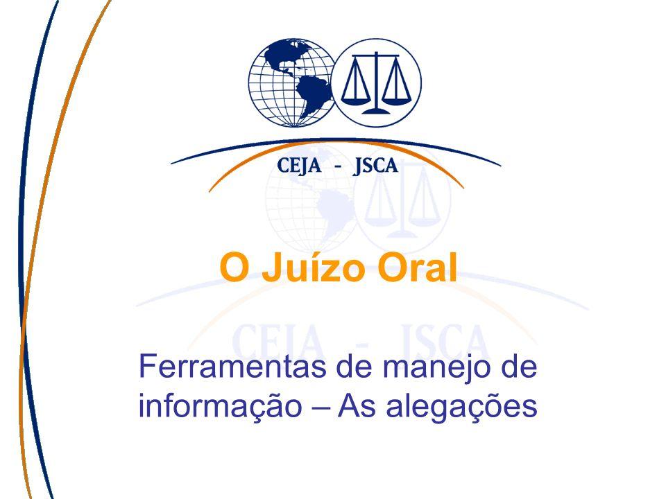 O Juízo Oral Ferramentas de manejo de informação – As alegações