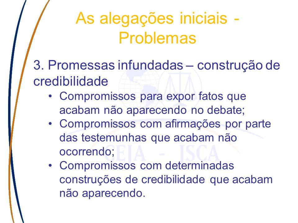 3. Promessas infundadas – construção de credibilidade Compromissos para expor fatos que acabam não aparecendo no debate; Compromissos com afirmações p