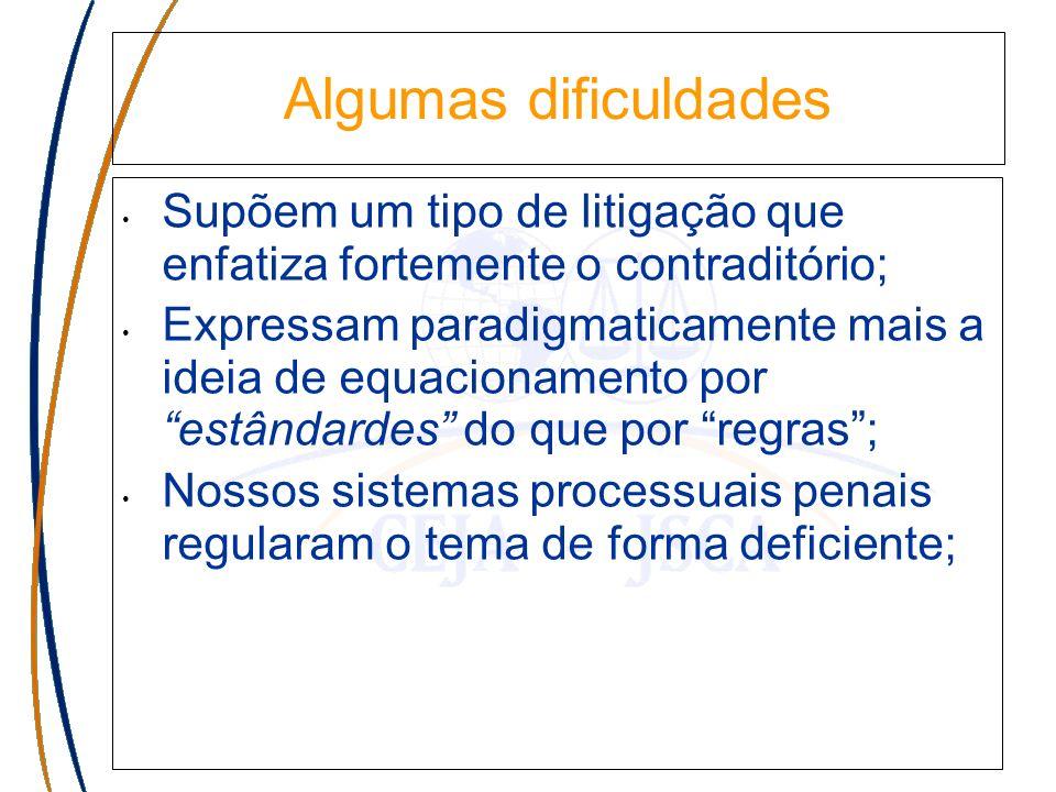Algumas dificuldades Supõem um tipo de litigação que enfatiza fortemente o contraditório; Expressam paradigmaticamente mais a ideia de equacionamento