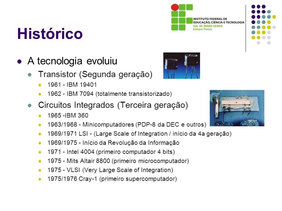 Histórico A tecnologia evoluiu Transistor (Segunda geração) 1961 - IBM 19401 1962 - IBM 7094 (totalmente transistorizado) Circuitos Integrados (Tercei