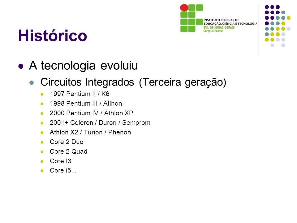 Histórico A tecnologia evoluiu Circuitos Integrados (Terceira geração) 1997 Pentium II / K6 1998 Pentium III / Atlhon 2000 Pentium IV / Athlon XP 2001