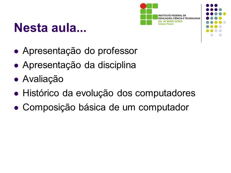 Nesta aula... Apresentação do professor Apresentação da disciplina Avaliação Histórico da evolução dos computadores Composição básica de um computador