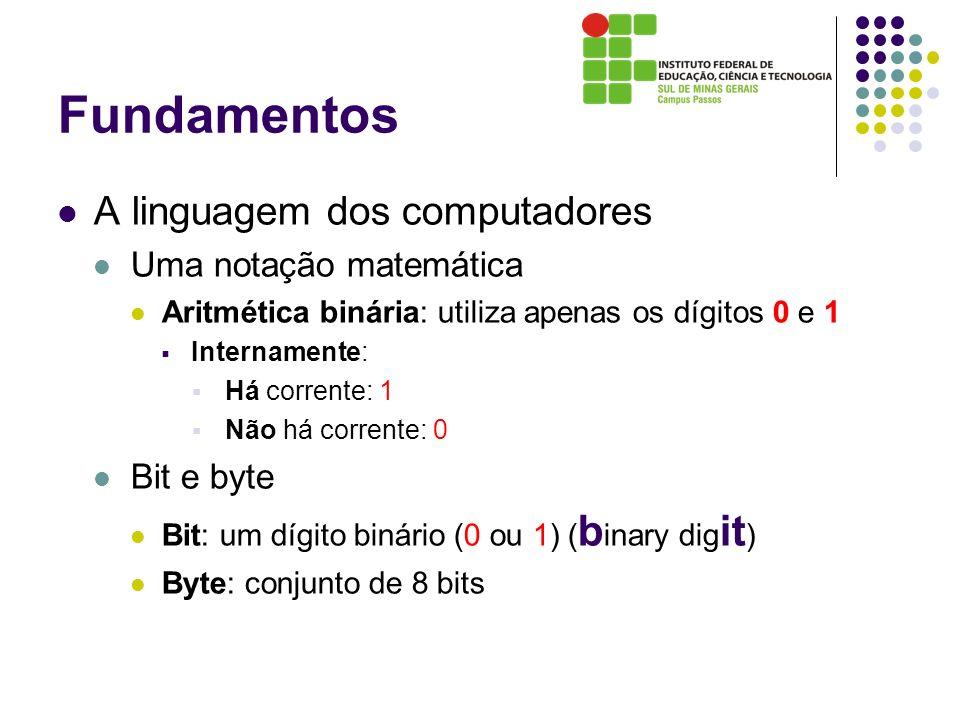Fundamentos A linguagem dos computadores Uma notação matemática Aritmética binária: utiliza apenas os dígitos 0 e 1 Internamente: Há corrente: 1 Não h