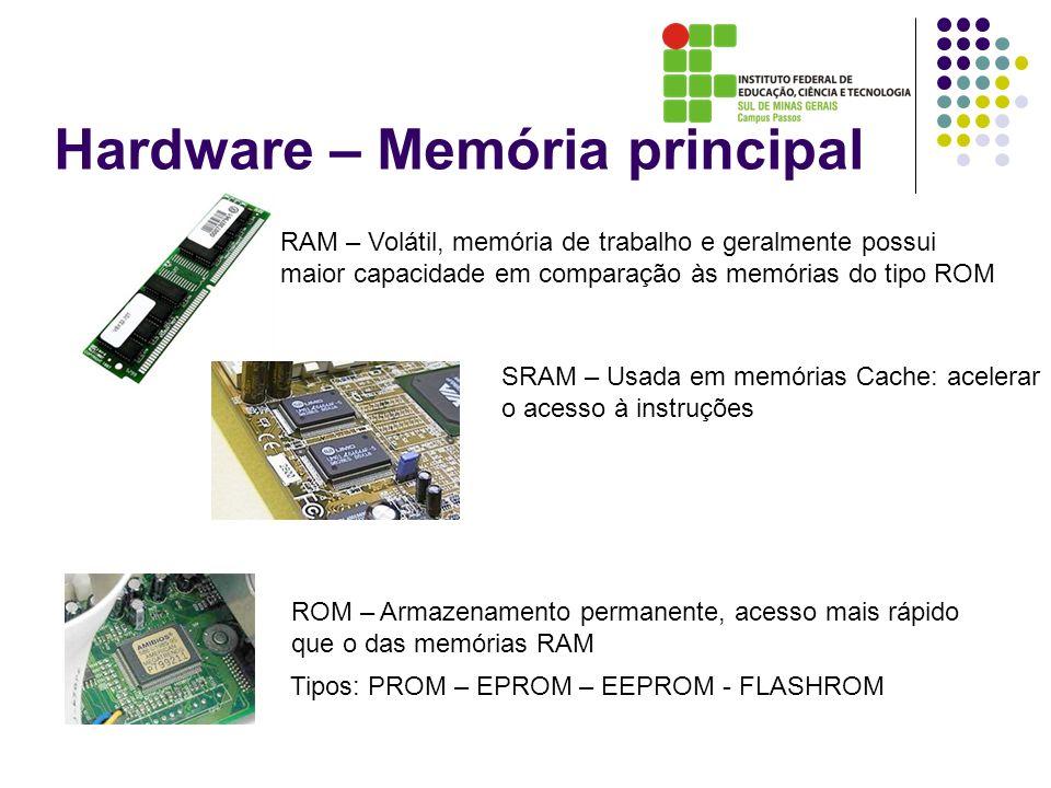 Hardware – Memória principal RAM – Volátil, memória de trabalho e geralmente possui maior capacidade em comparação às memórias do tipo ROM ROM – Armaz