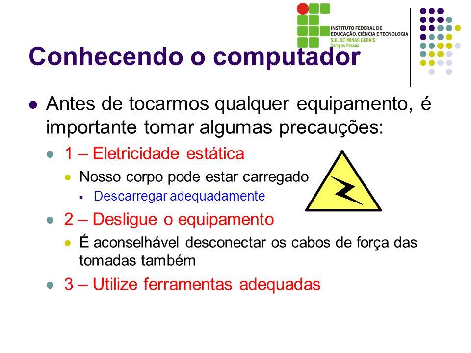 Conhecendo o computador Antes de tocarmos qualquer equipamento, é importante tomar algumas precauções: 1 – Eletricidade estática Nosso corpo pode esta