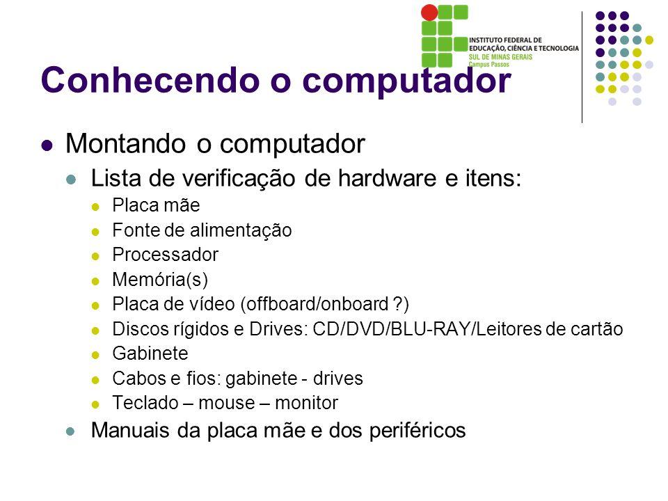 Conhecendo o computador Montando o computador Lista de verificação de hardware e itens: Placa mãe Fonte de alimentação Processador Memória(s) Placa de