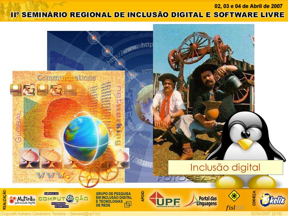 Copyleft Adriano Canabarro Teixeira – [teixeira@upf.br]02/04/2007 [9/10] Inclusão digital