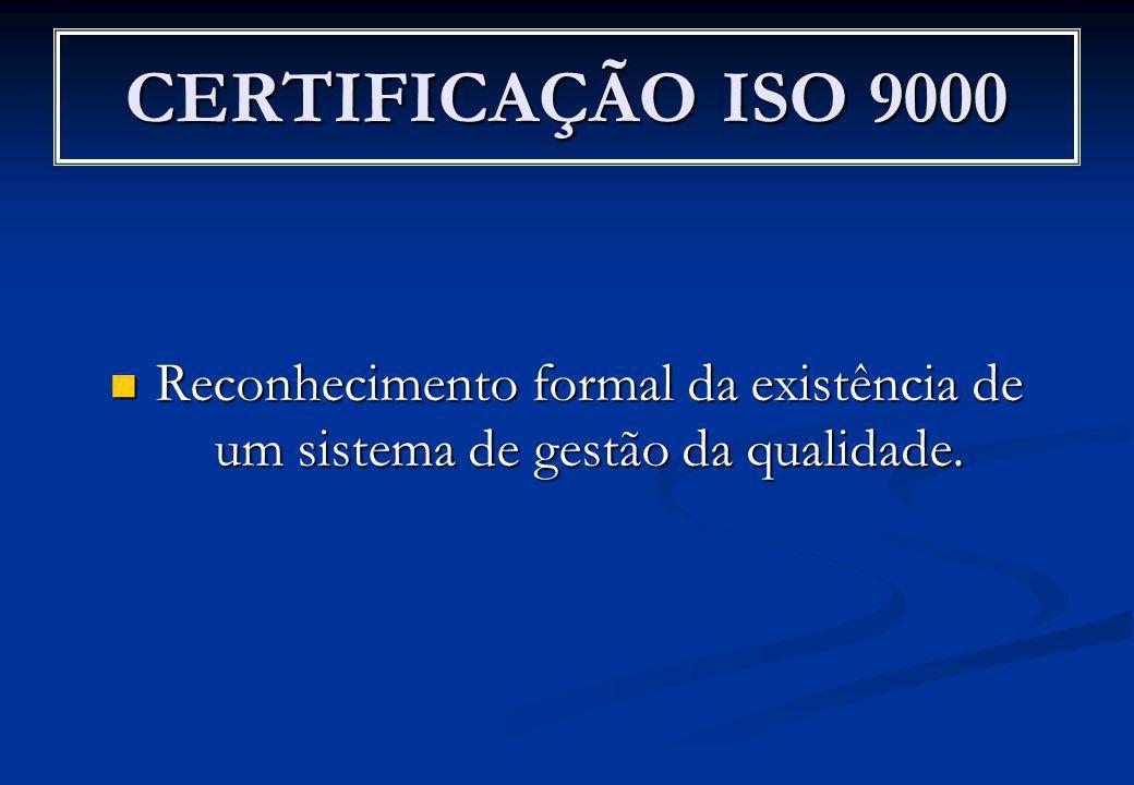 CERTIFICAÇÃO ISO 9000 Reconhecimento formal da existência de um sistema de gestão da qualidade. Reconhecimento formal da existência de um sistema de g