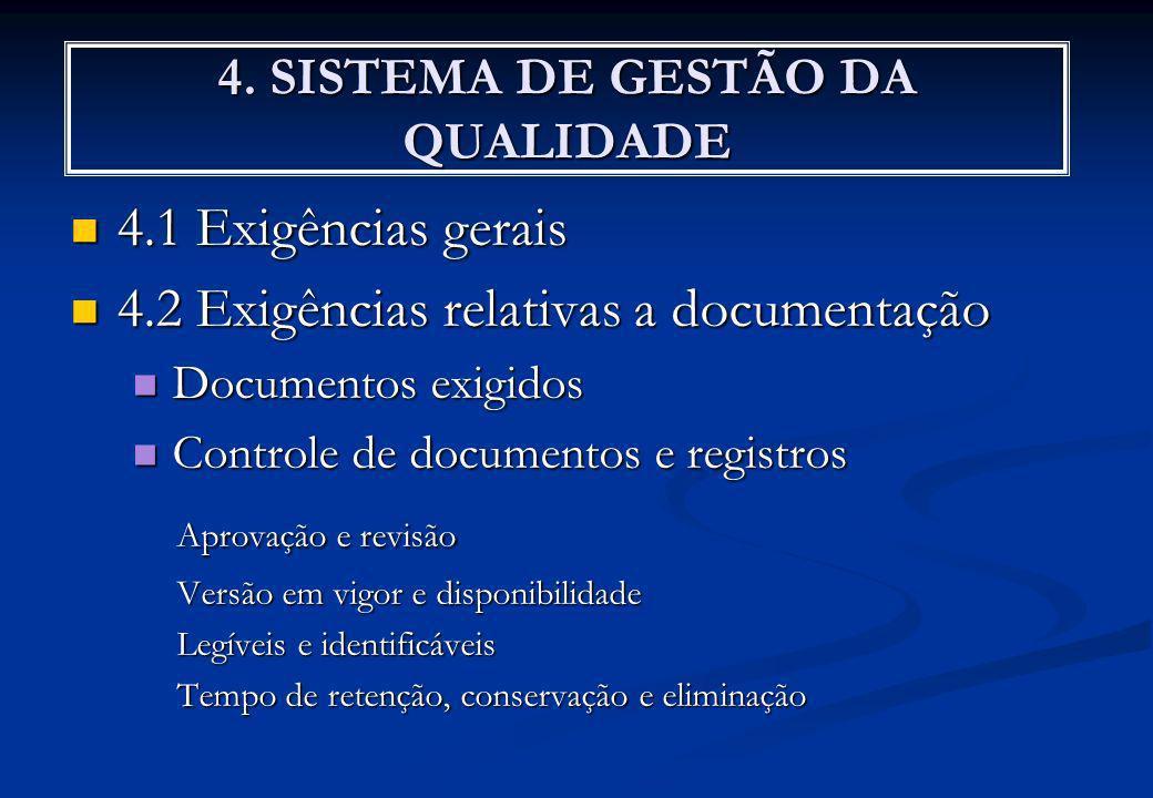 4. SISTEMA DE GESTÃO DA QUALIDADE 4.1 Exigências gerais 4.1 Exigências gerais 4.2 Exigências relativas a documentação 4.2 Exigências relativas a docum
