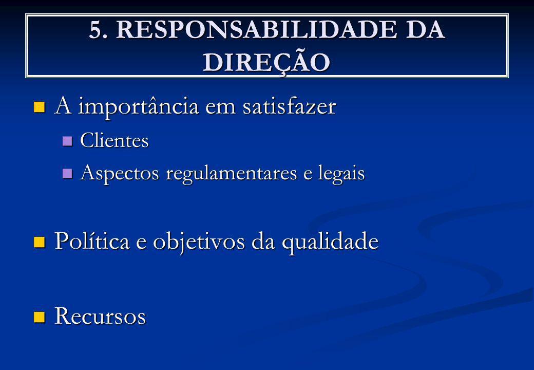 5. RESPONSABILIDADE DA DIREÇÃO A importância em satisfazer A importância em satisfazer Clientes Clientes Aspectos regulamentares e legais Aspectos reg