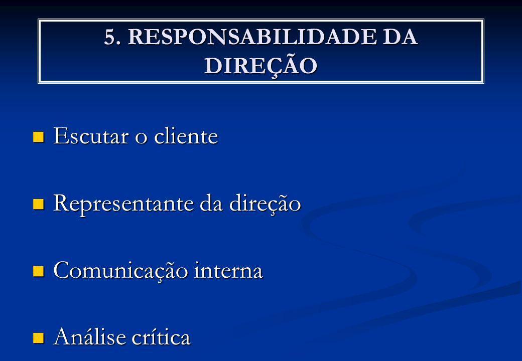 5. RESPONSABILIDADE DA DIREÇÃO Escutar o cliente Escutar o cliente Representante da direção Representante da direção Comunicação interna Comunicação i