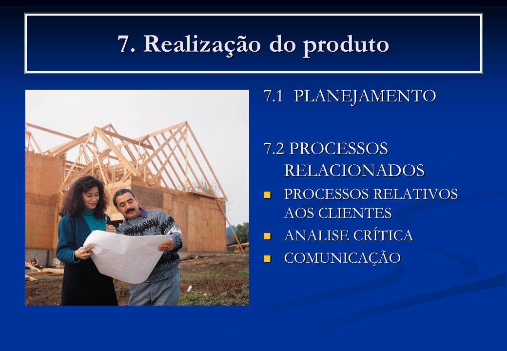 7. Realização do produto 7.1 PLANEJAMENTO 7.2 PROCESSOS RELACIONADOS PROCESSOS RELATIVOS AOS CLIENTES ANALISE CRÍTICA COMUNICAÇÃO