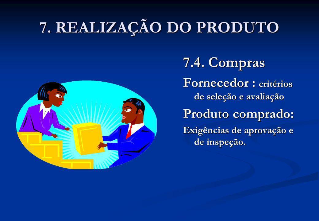 7. REALIZAÇÃO DO PRODUTO 7.4. Compras Fornecedor : critérios de seleção e avaliação Produto comprado: Exigências de aprovação e de inspeção.
