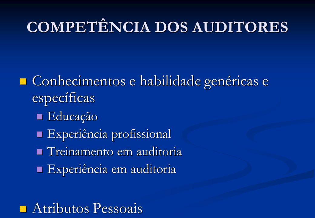 COMPETÊNCIA DOS AUDITORES Conhecimentos e habilidade genéricas e específicas Conhecimentos e habilidade genéricas e específicas Educação Educação Expe
