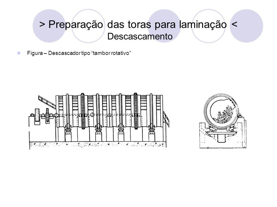 > Preparação das toras para laminação < Descascamento Figura – Descascador tipo tambor rotativo