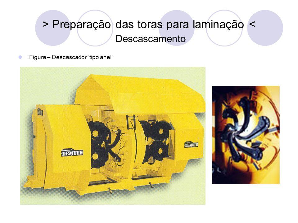 > Preparação das toras para laminação < Descascamento Figura – Descascador tipo anel