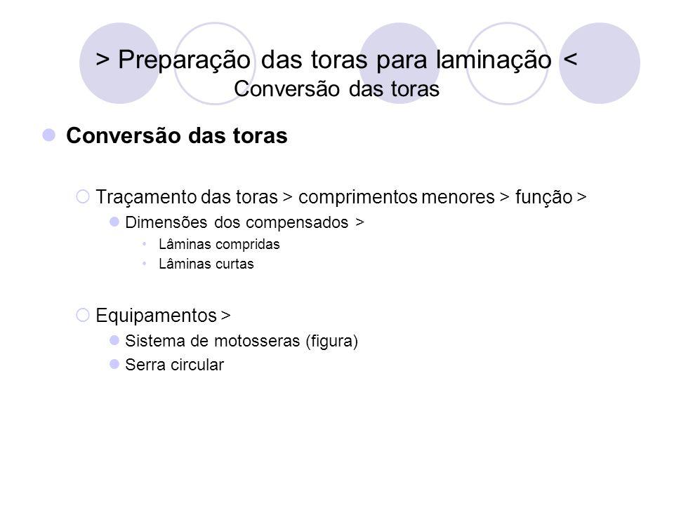 > Preparação das toras para laminação < Conversão das toras Conversão das toras Traçamento das toras > comprimentos menores > função > Dimensões dos c