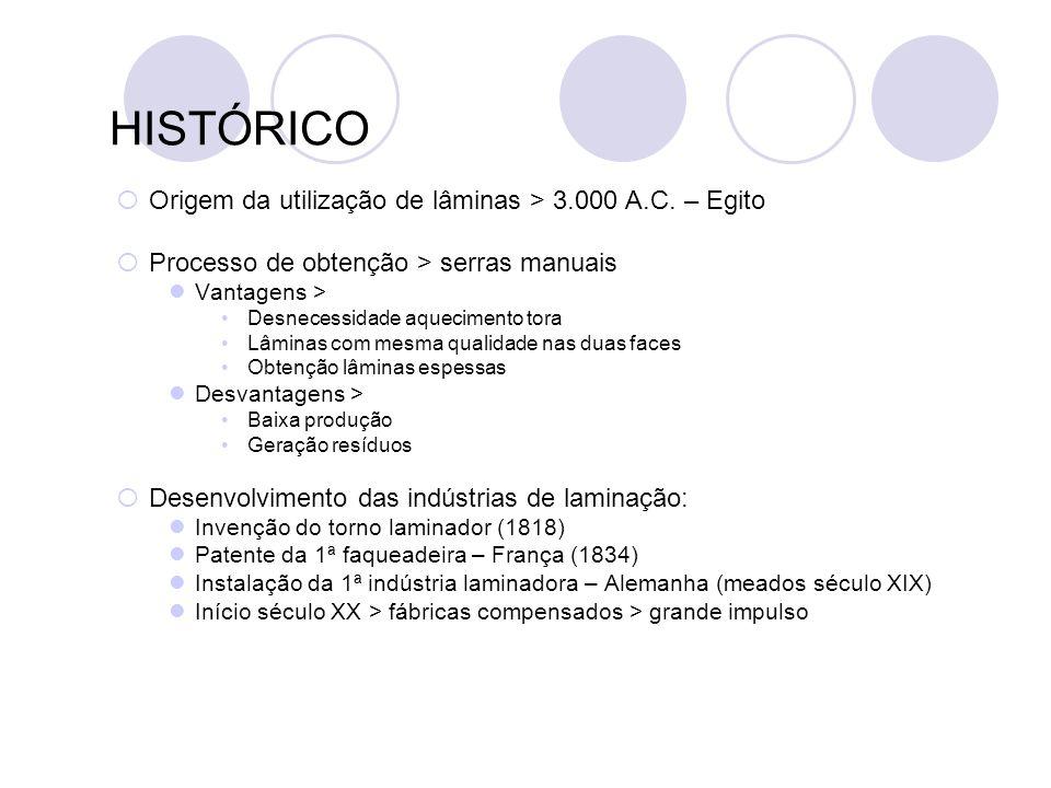 HISTÓRICO Origem da utilização de lâminas > 3.000 A.C. – Egito Processo de obtenção > serras manuais Vantagens > Desnecessidade aquecimento tora Lâmin
