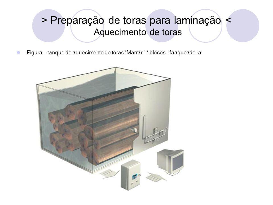 > Preparação de toras para laminação < Aquecimento de toras Figura – tanque de aquecimento de toras Marrari / blocos - faaqueadeira