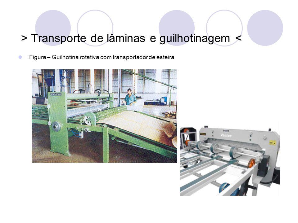 > Transporte de lâminas e guilhotinagem < Figura – Guilhotina rotativa com transportador de esteira