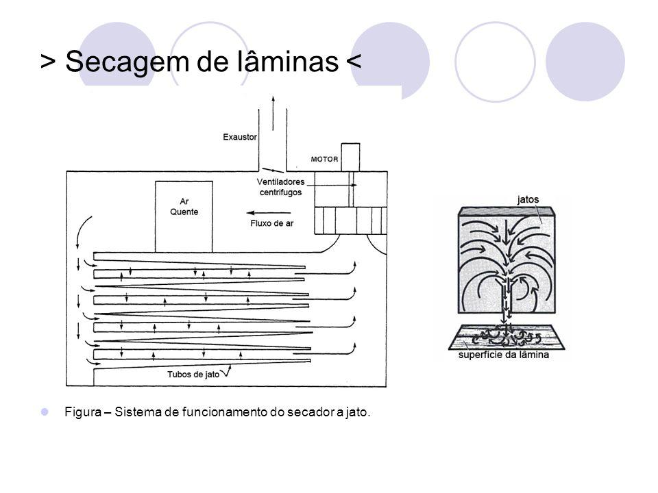 > Secagem de lâminas < Figura – Sistema de funcionamento do secador a jato.