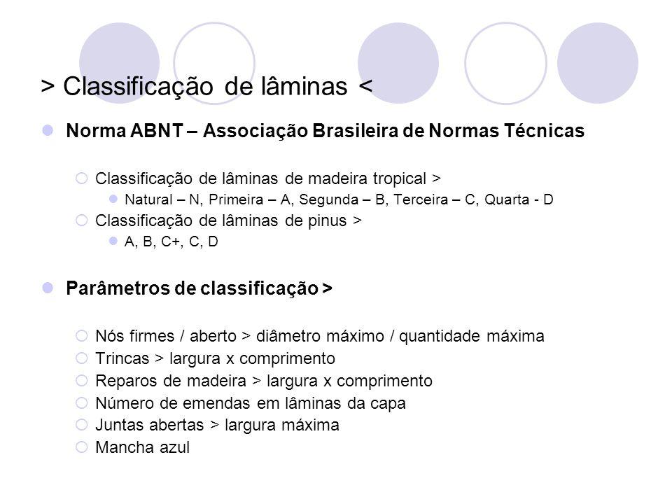 > Classificação de lâminas < Norma ABNT – Associação Brasileira de Normas Técnicas Classificação de lâminas de madeira tropical > Natural – N, Primeir