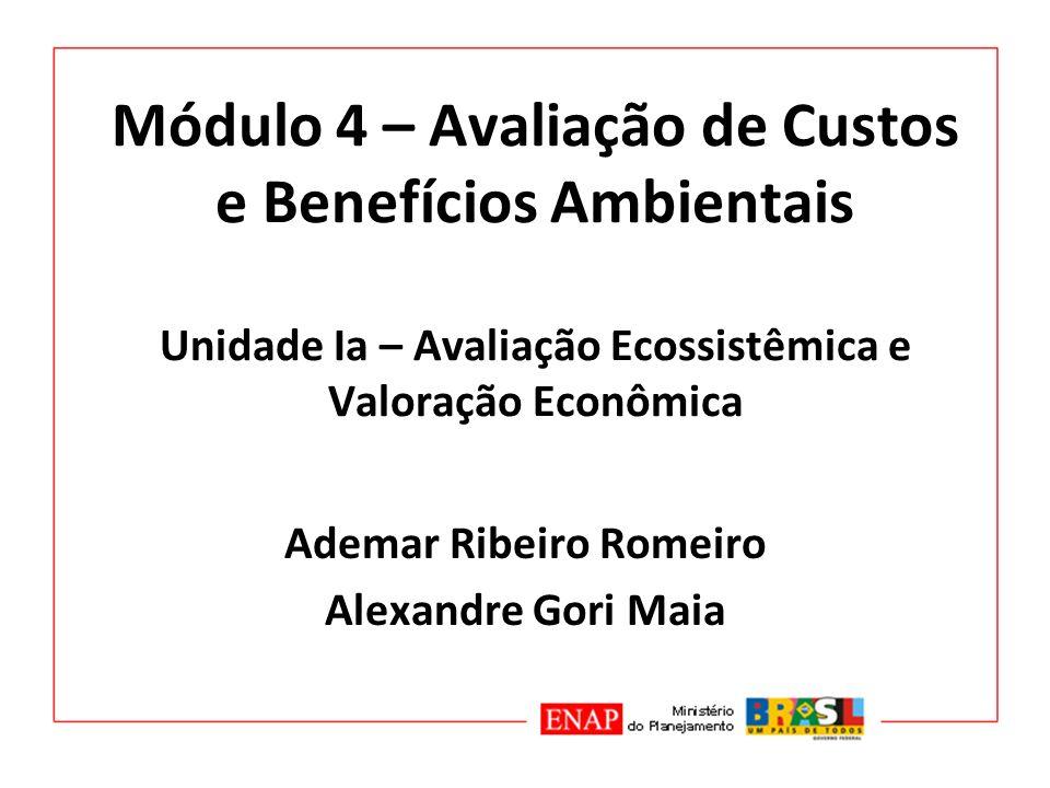 Módulo 4 – Avaliação de Custos e Benefícios Ambientais Unidade Ia – Avaliação Ecossistêmica e Valoração Econômica Ademar Ribeiro Romeiro Alexandre Gor