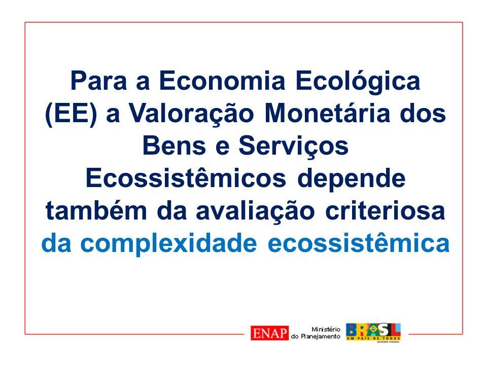 A Valoração Econômica muda sua dinâmica com a consideração da Complexidade Ecossistêmica: (a)maior esforço de definição de funções ecossistêmicas; (b) aumenta o número de variáveis e de parâmetros.