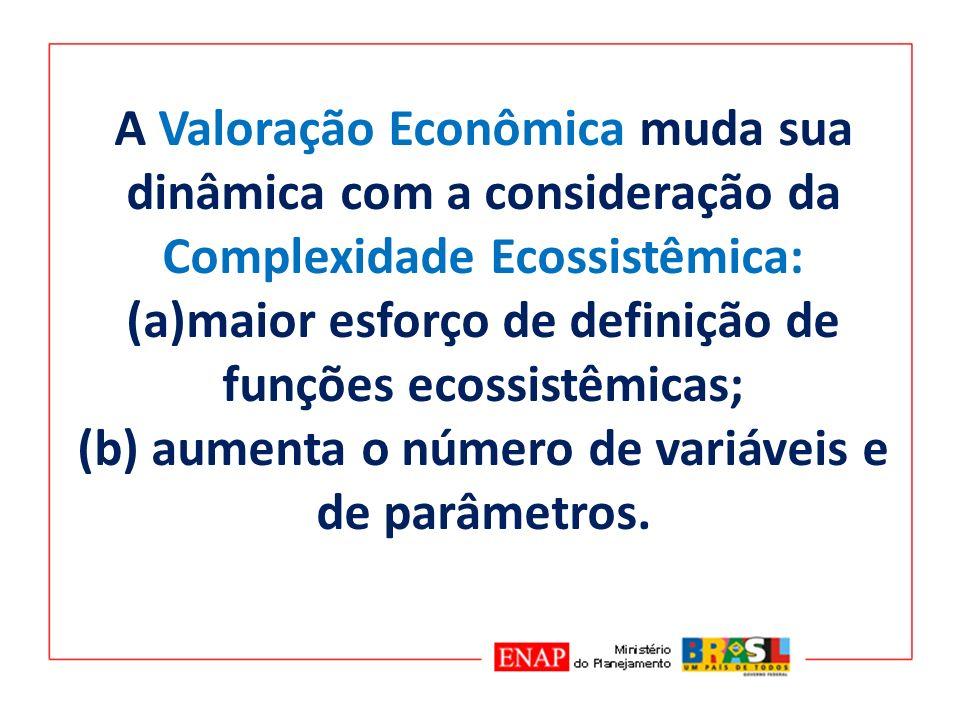 A Valoração Econômica muda sua dinâmica com a consideração da Complexidade Ecossistêmica: (a)maior esforço de definição de funções ecossistêmicas; (b)