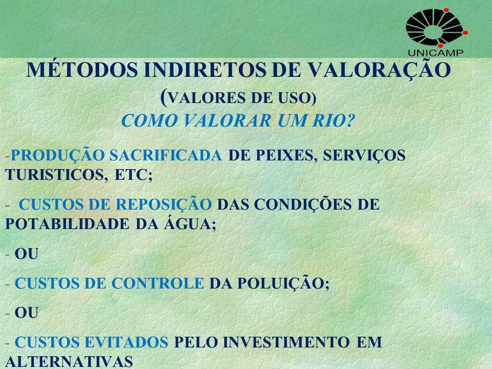 MÉTODOS INDIRETOS DE VALORAÇÃO ( VALORES DE USO) COMO VALORAR UM RIO? -PRODUÇÃO SACRIFICADA DE PEIXES, SERVIÇOS TURISTICOS, ETC; - CUSTOS DE REPOSIÇÃO