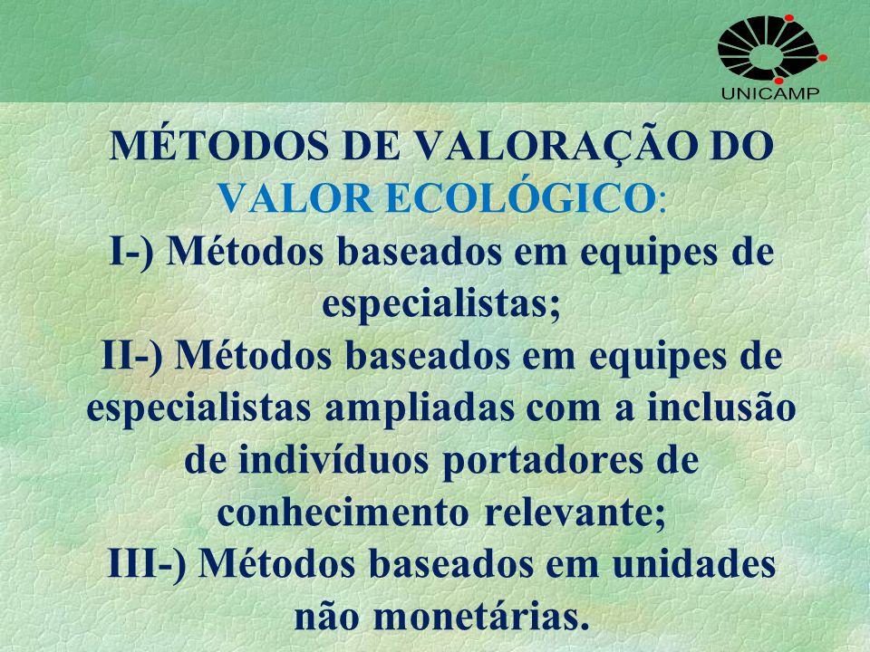 MÉTODOS DE VALORAÇÃO DO VALOR ECOLÓGICO: I-) Métodos baseados em equipes de especialistas; II-) Métodos baseados em equipes de especialistas ampliadas