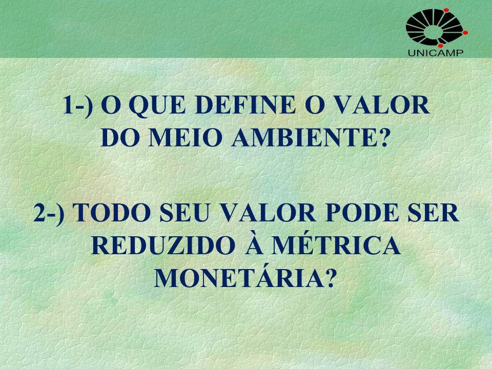 1-) O QUE DEFINE O VALOR DO MEIO AMBIENTE? 2-) TODO SEU VALOR PODE SER REDUZIDO À MÉTRICA MONETÁRIA?