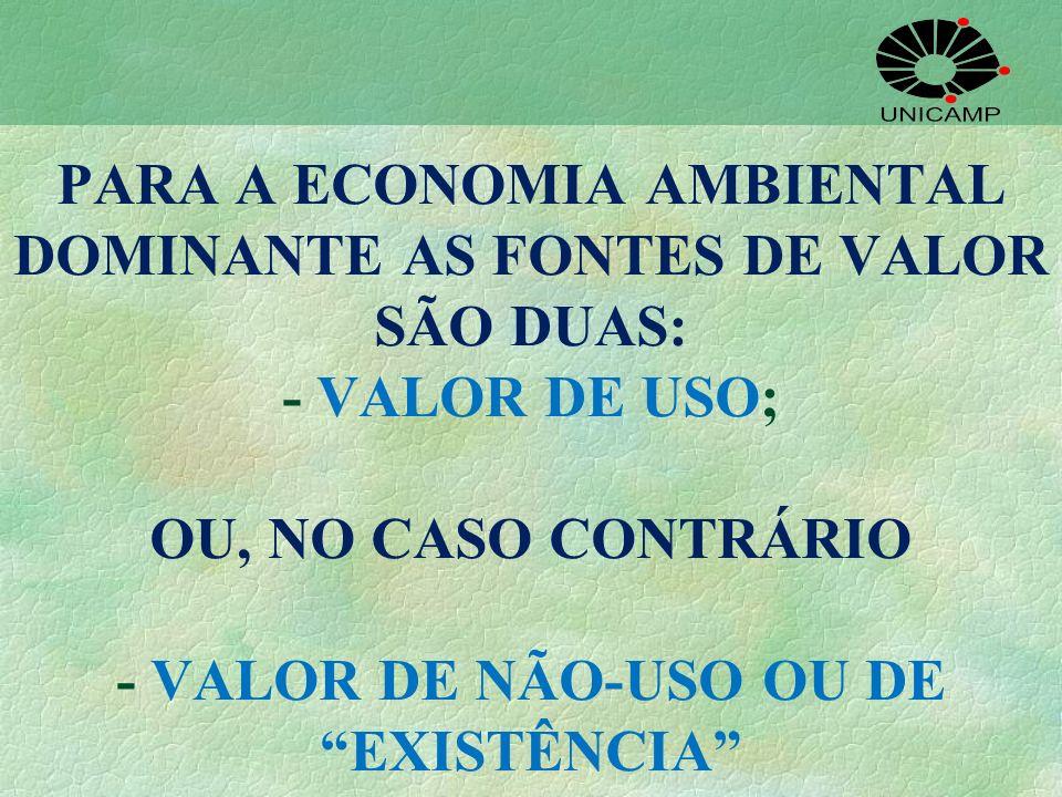 Valor de Uso Direto Apropriação direta de recursos ambientais, via extração, visitação ou outra atividade de produção ou consumo direto.
