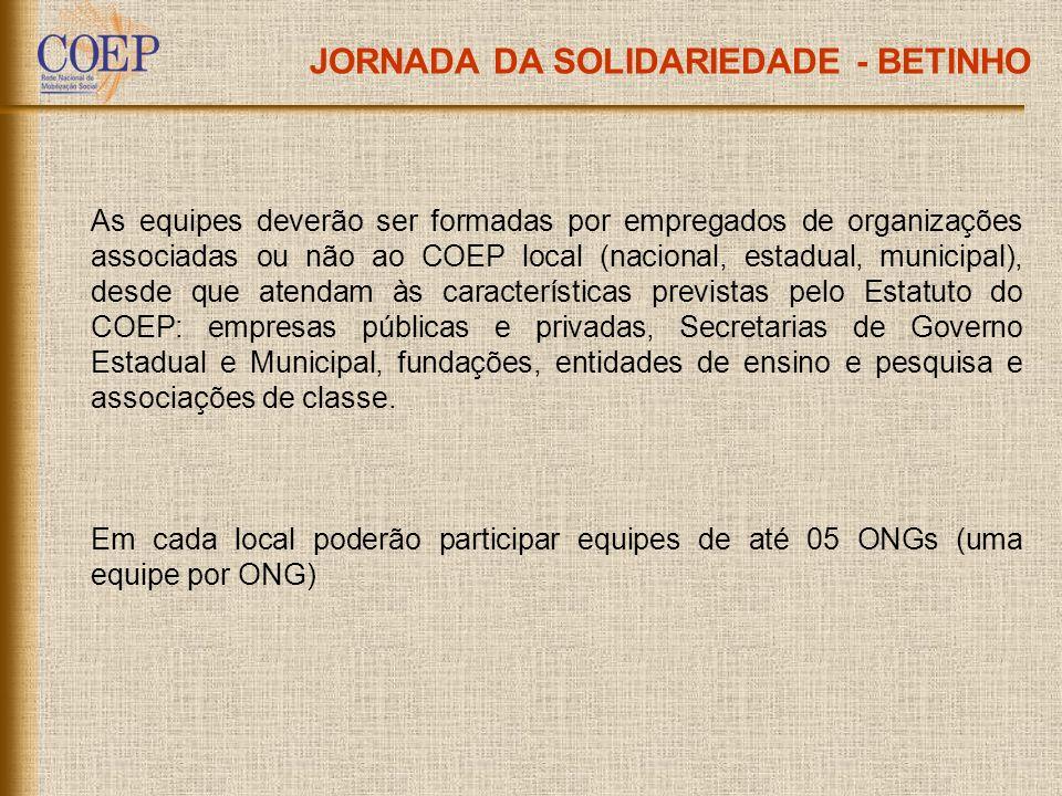 JORNADA DA SOLIDARIEDADE - BETINHO As equipes deverão ser formadas por empregados de organizações associadas ou não ao COEP local (nacional, estadual,