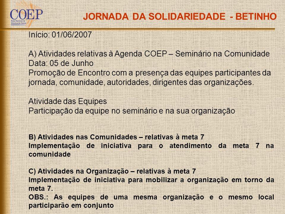 JORNADA DA SOLIDARIEDADE - BETINHO Início: 01/06/2007 A) Atividades relativas à Agenda COEP – Seminário na Comunidade Data: 05 de Junho Promoção de En