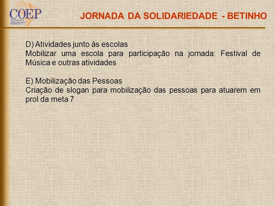 JORNADA DA SOLIDARIEDADE - BETINHO D) Atividades junto às escolas Mobilizar uma escola para participação na jornada: Festival de Música e outras ativi