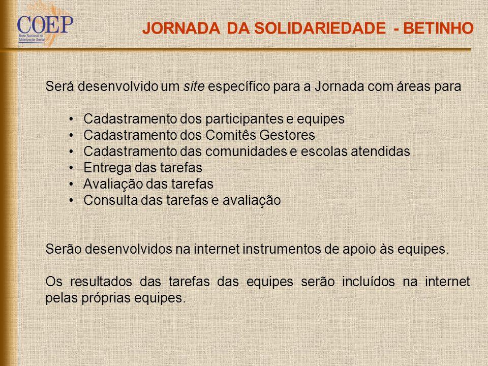 JORNADA DA SOLIDARIEDADE - BETINHO Será desenvolvido um site específico para a Jornada com áreas para Cadastramento dos participantes e equipes Cadast