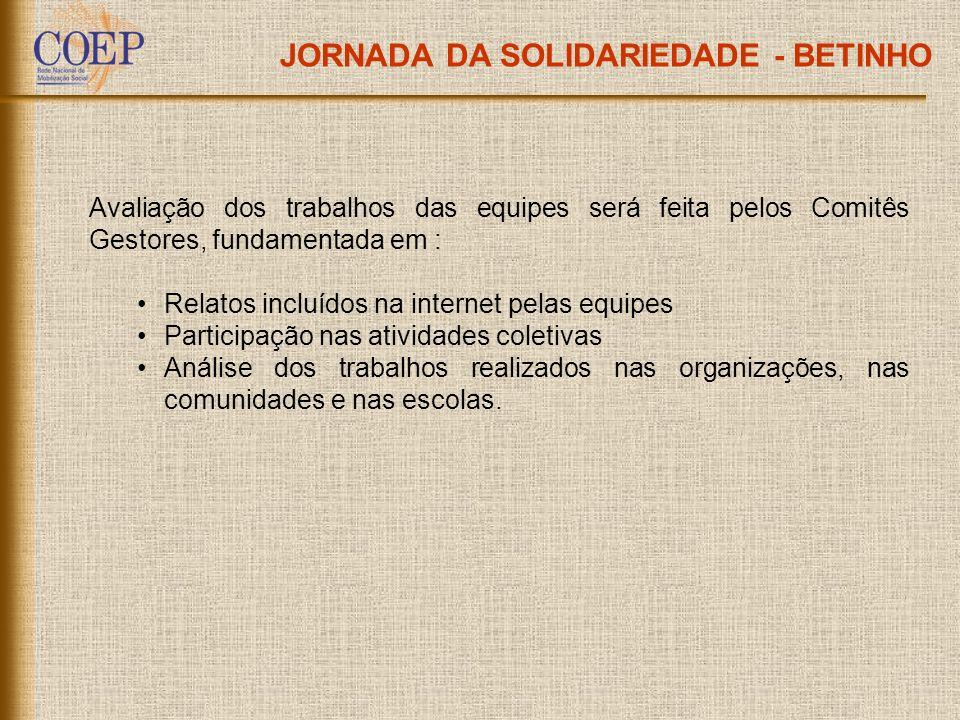 JORNADA DA SOLIDARIEDADE - BETINHO Avaliação dos trabalhos das equipes será feita pelos Comitês Gestores, fundamentada em : Relatos incluídos na inter