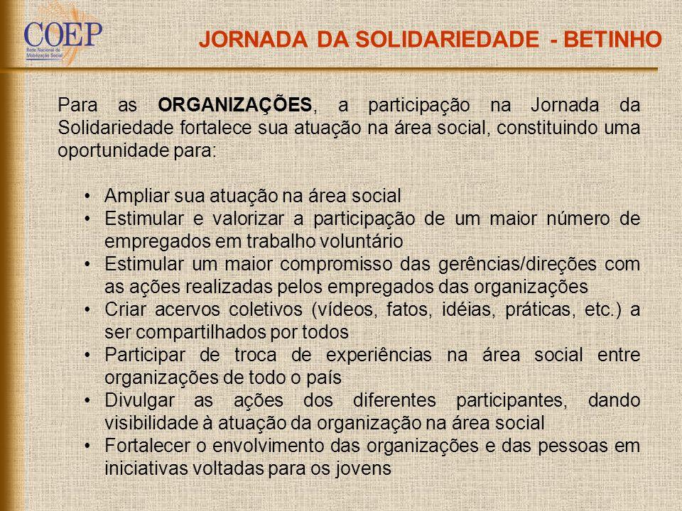 JORNADA DA SOLIDARIEDADE - BETINHO Para as ORGANIZAÇÕES, a participação na Jornada da Solidariedade fortalece sua atuação na área social, constituindo