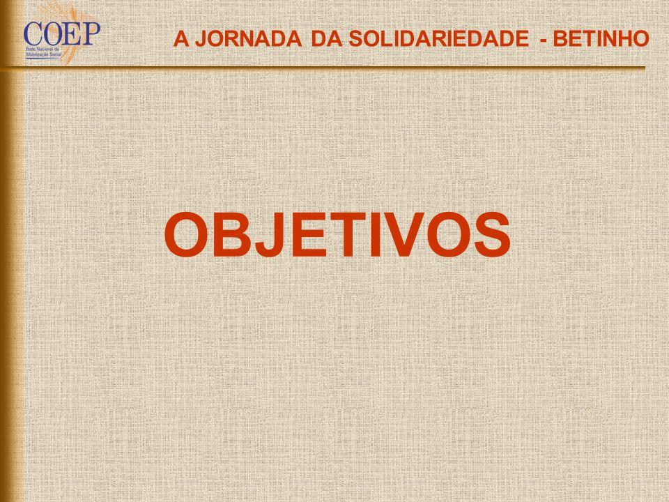 OBJETIVOS A JORNADA DA SOLIDARIEDADE - BETINHO